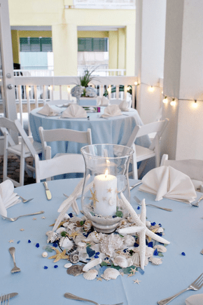 Light blue is a great option for a beachy wedding. Love