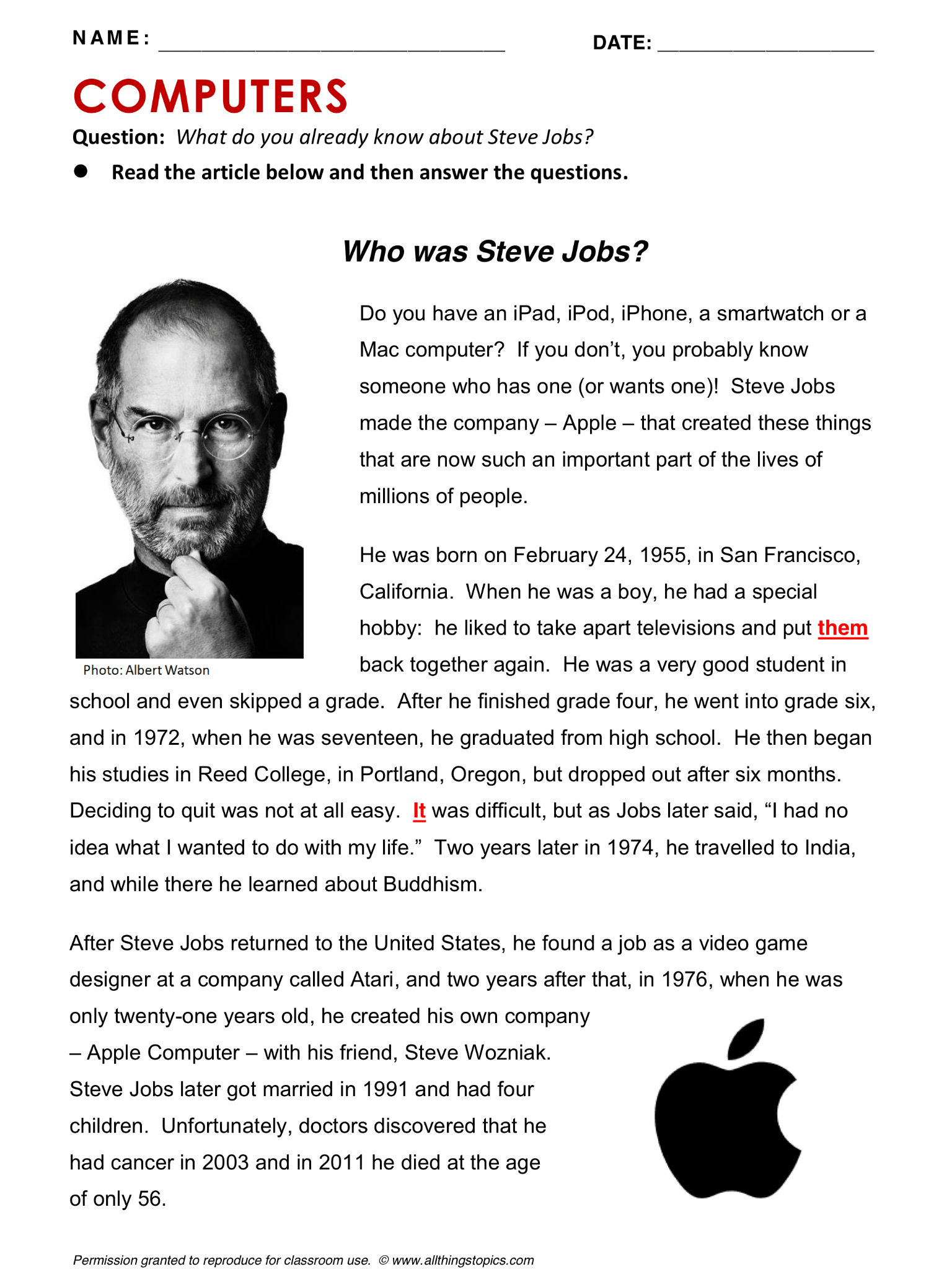 Steve Jobs Computers And Internet English Learning English Vocabulary Esl English Phrases