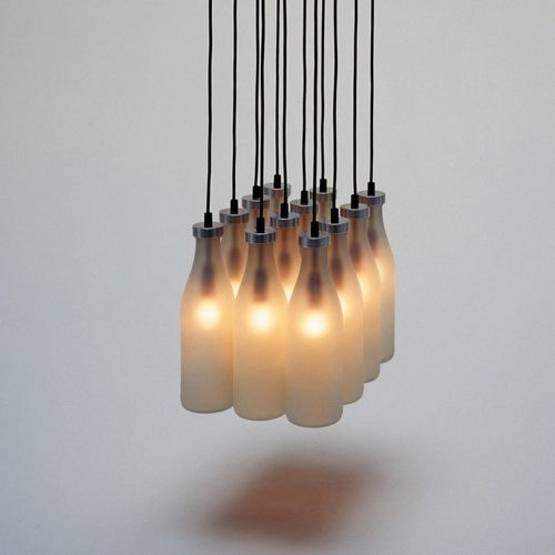 Droog Milk Bottle Lamps Chandelier By Tejo Remy Stardust