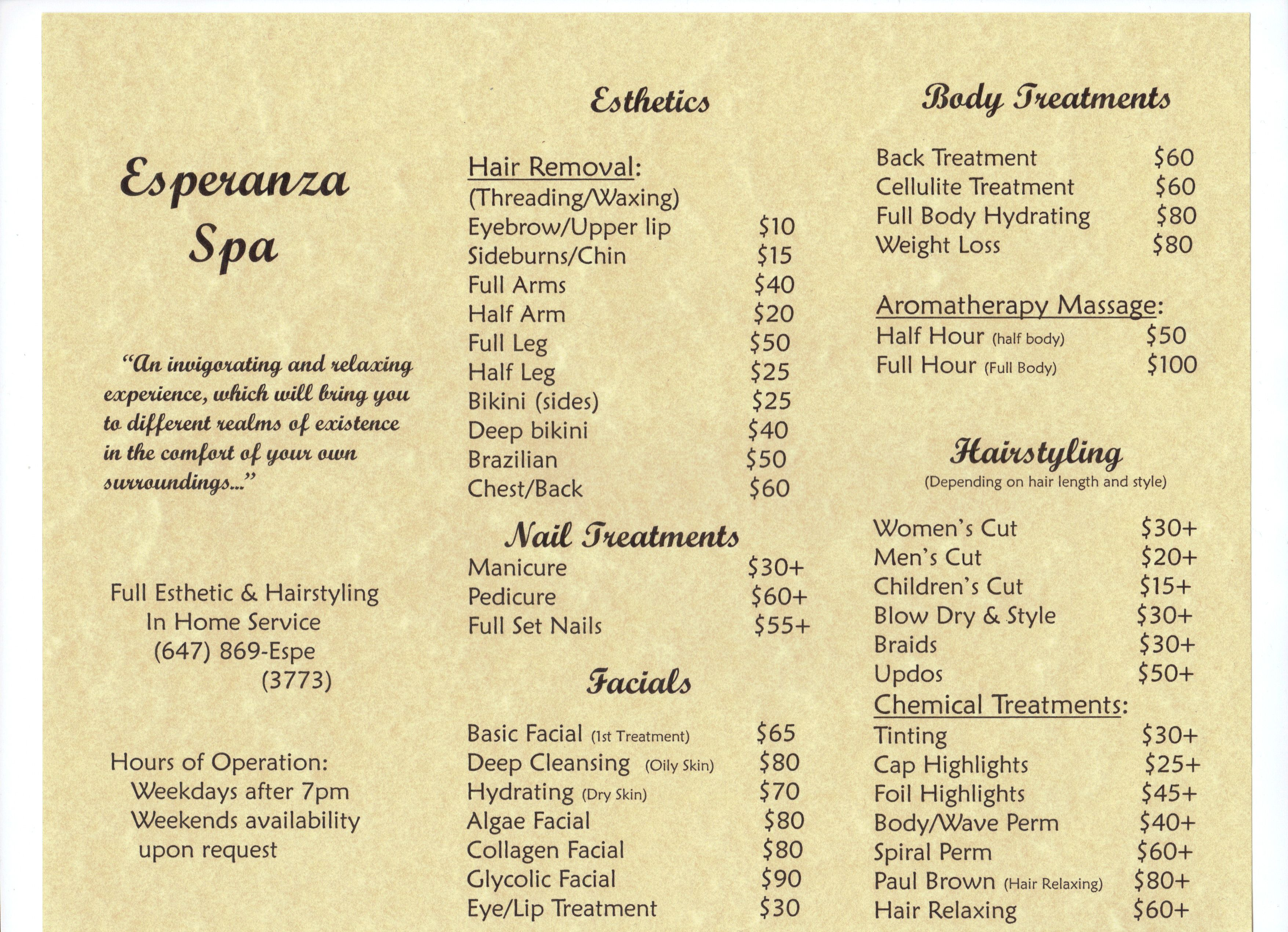 My Mobile Esthetics Business Price List Master