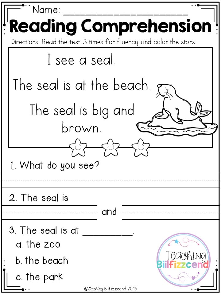 FREE Reading Comprehension Passages For Beginning Readers4
