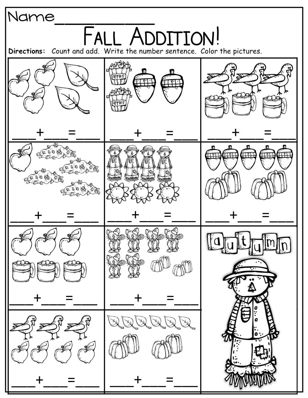 Thanksgiving In Kindergarten Addition Worksheet
