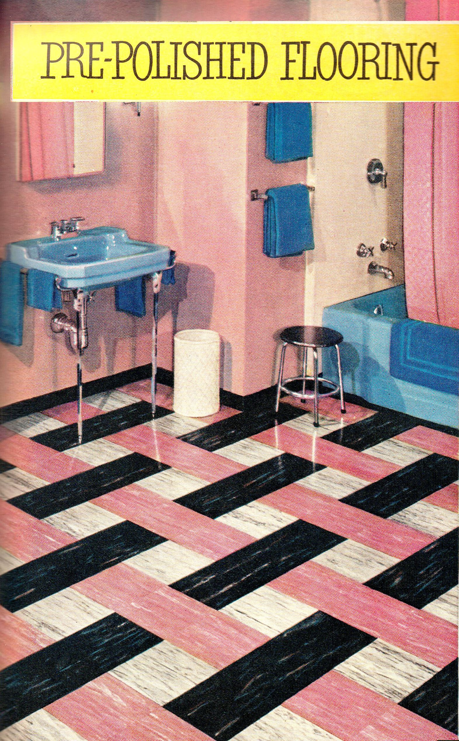 Mid century bathroom featuring vinyl flooring by Good Year