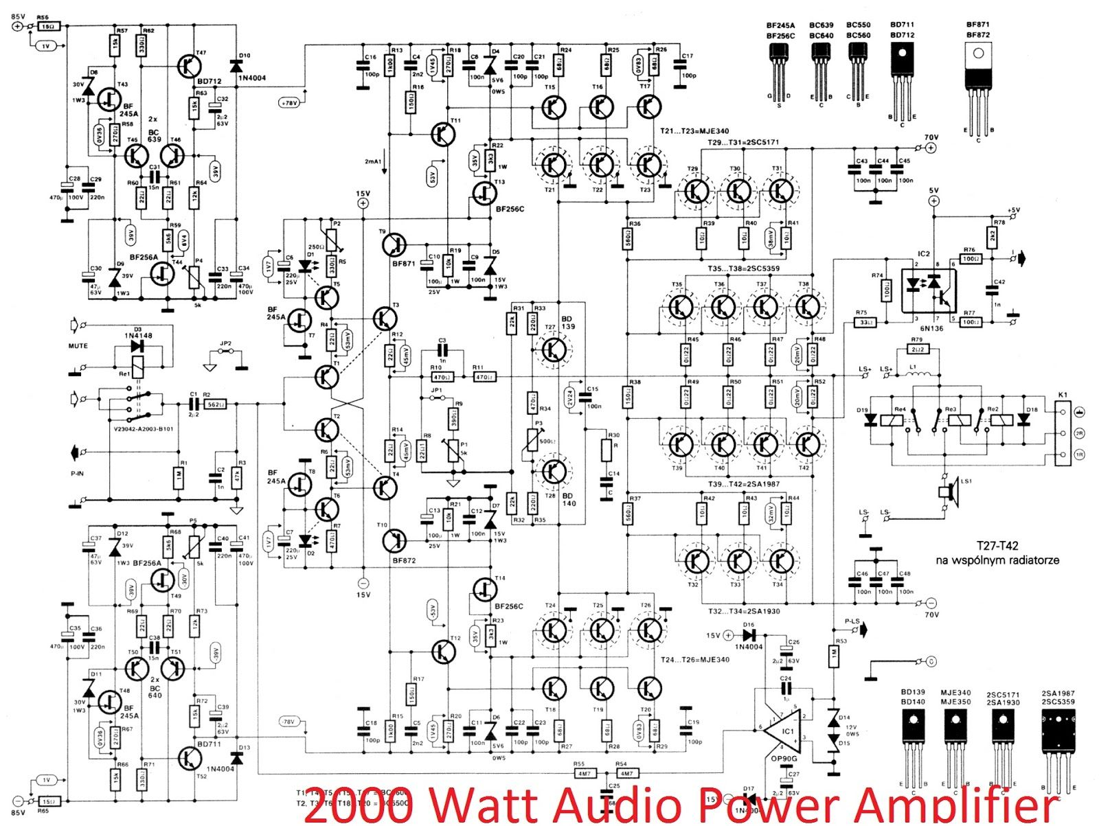 Watt High Power Amplifier 2sc 2sa