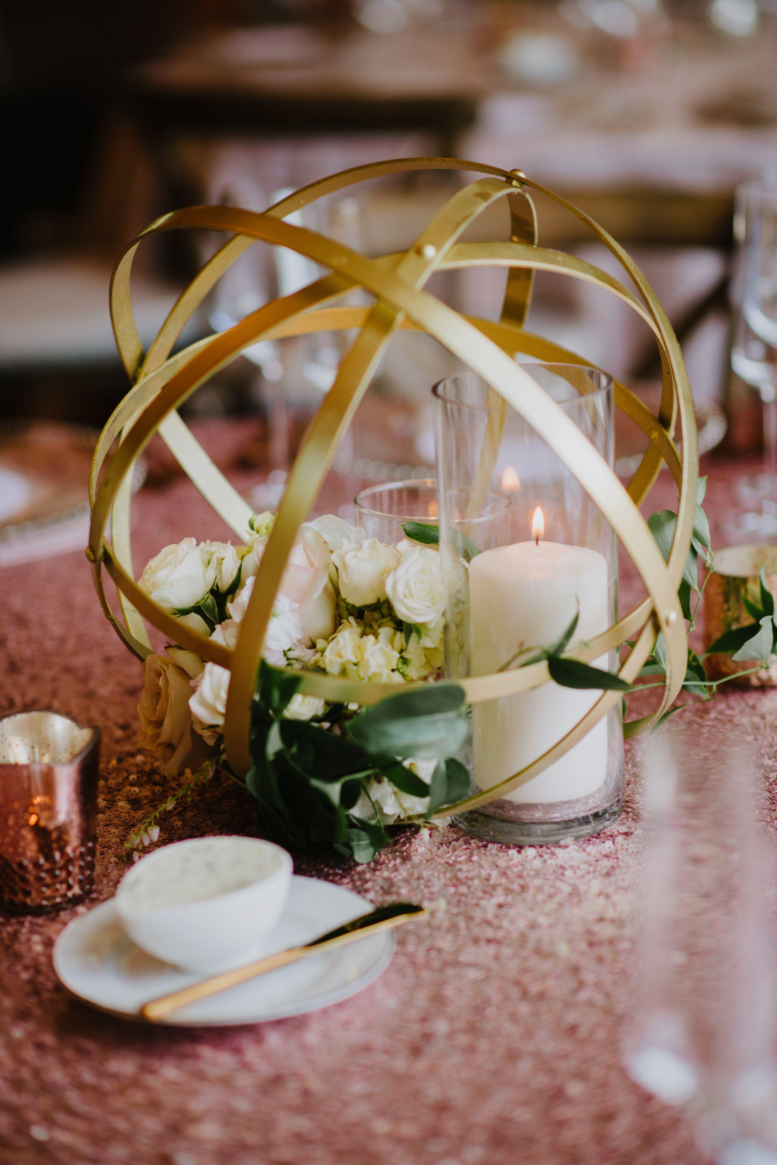 Geometric Gold Sphere Centerpiece Cloud 9 Weddings Fab