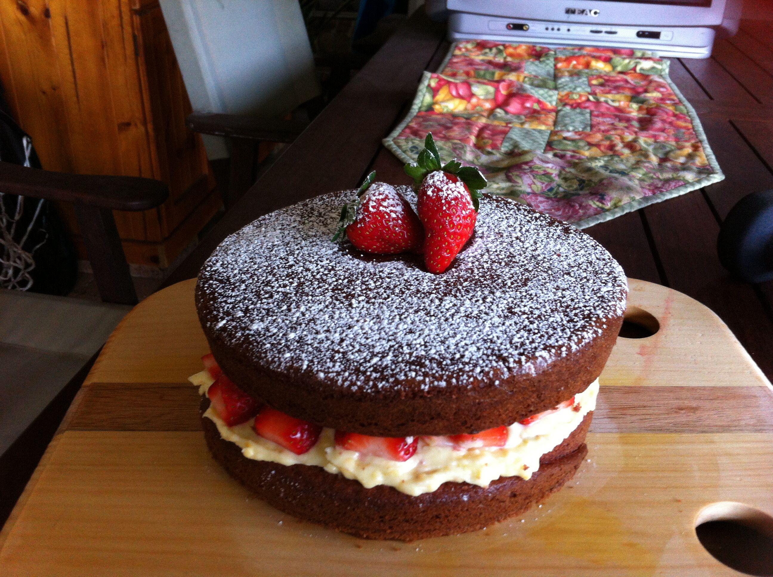 Red Velvet Cake With Orange And Strawberry Filling Cake