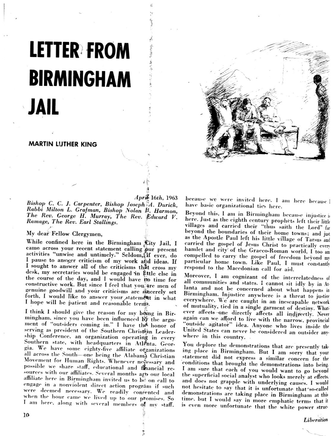 "Letter From Birmingham Jail The first page of ""Letter"