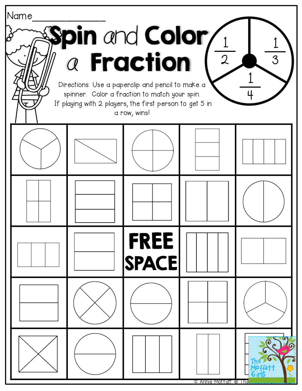 Fractions Coloring Worksheet For Halloween