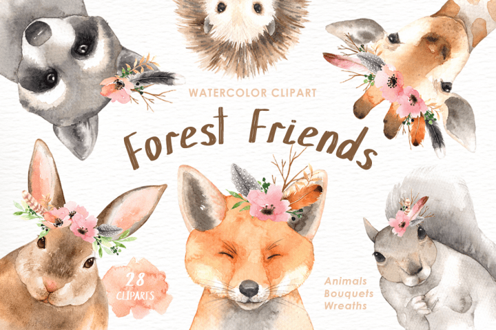 Forest Friends Watercolor Clip Art By everysunsun. The set
