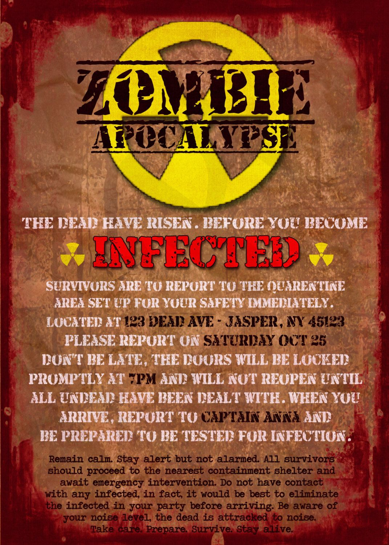 Zombie Apocalypse Quarantine Notice Printable Party