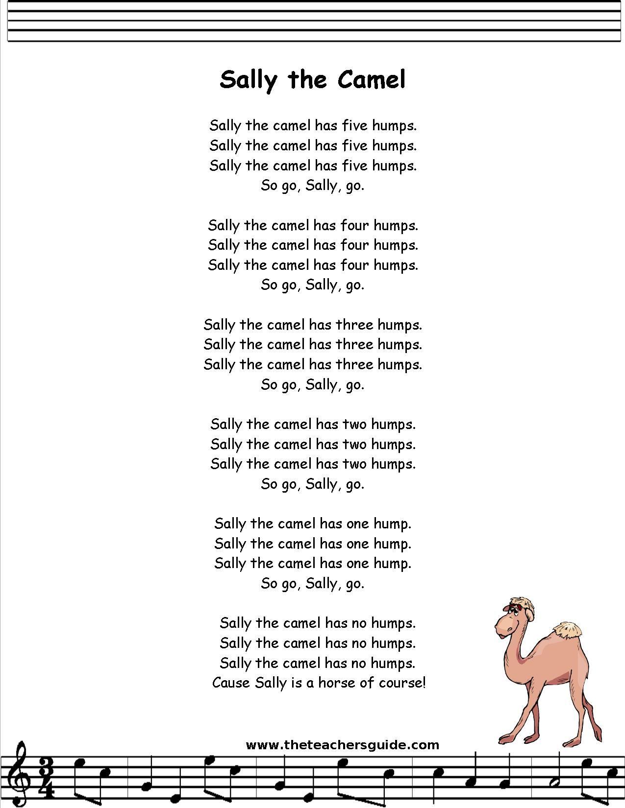 Sally The Camel Lyrics Printout
