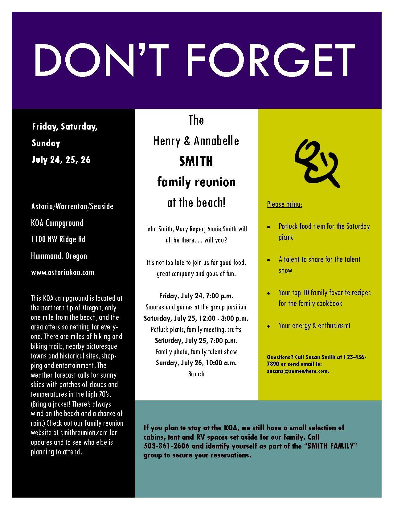 Sample family reunion invitation flyer Ideas for Family