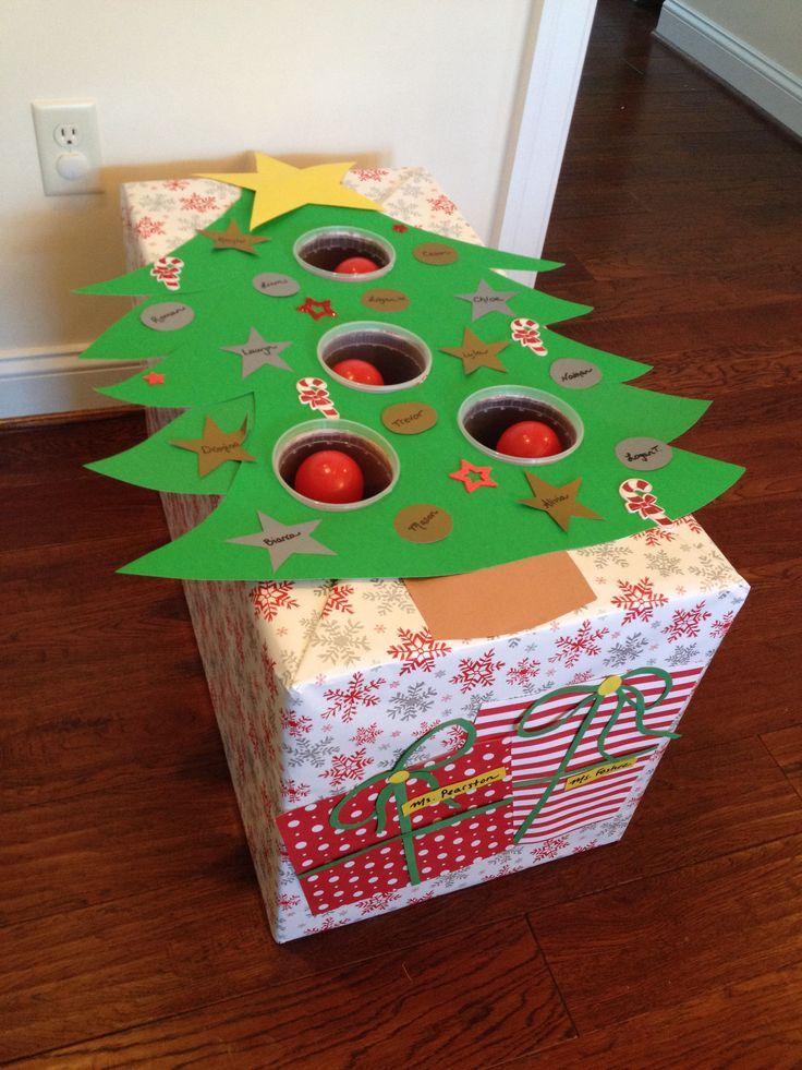 Christmas tree ball toss for a preschool holiday gameFor