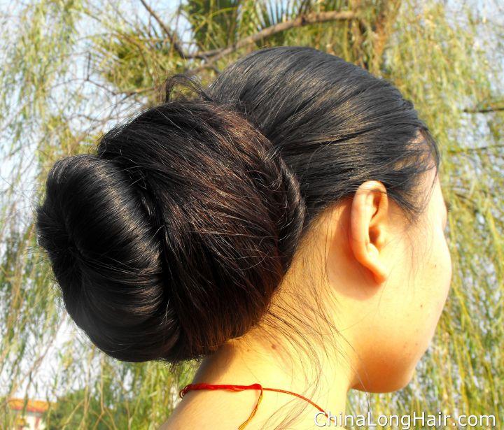 Feng Ye big low bun Rambut Sangat Panjang Pinterest