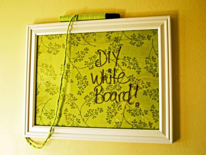 Diy white board picture frame fabric mod podge