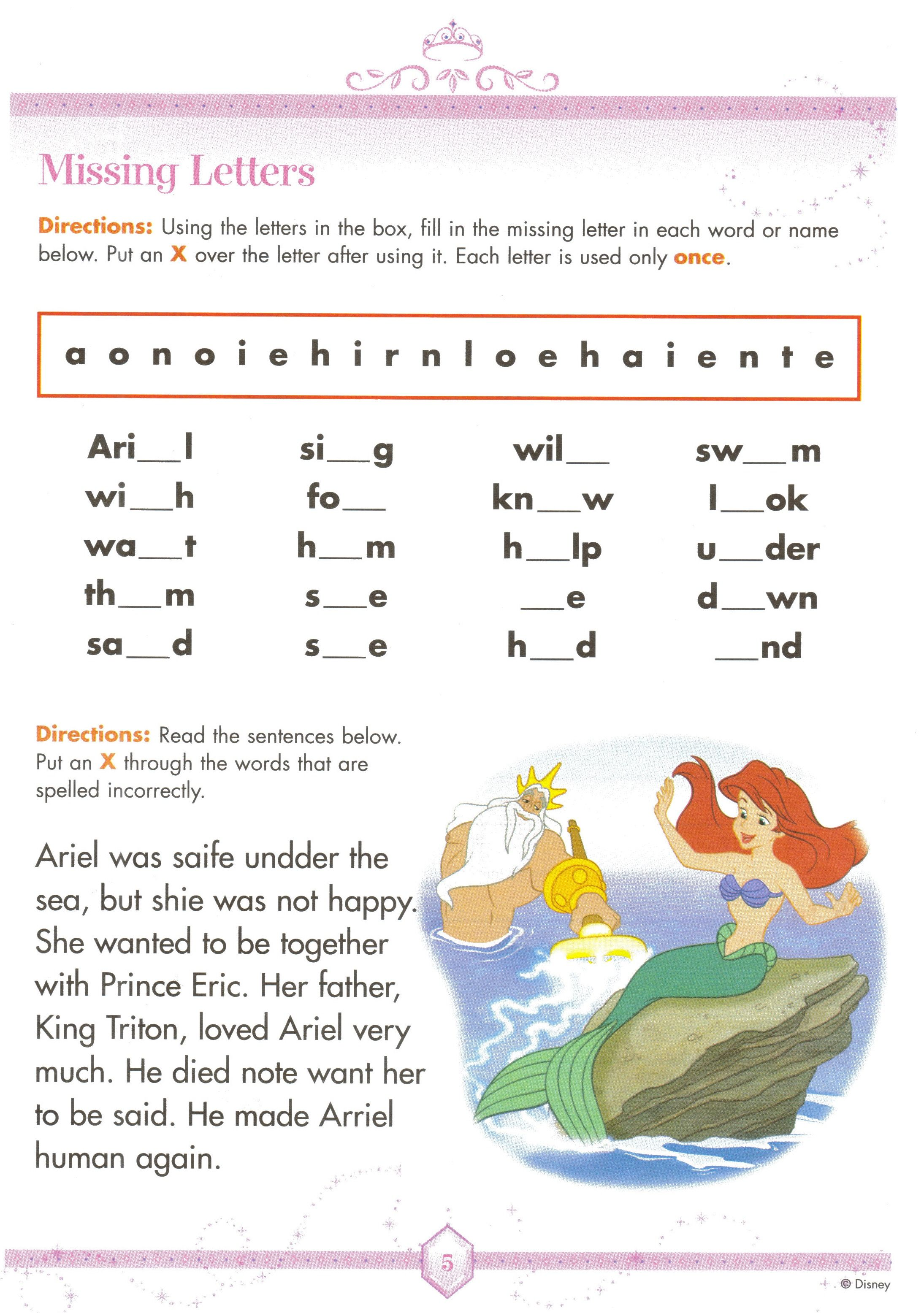 Disney Stationary Disney Learning Worksheets Kt Ariel Missing Letters Worksheet 5