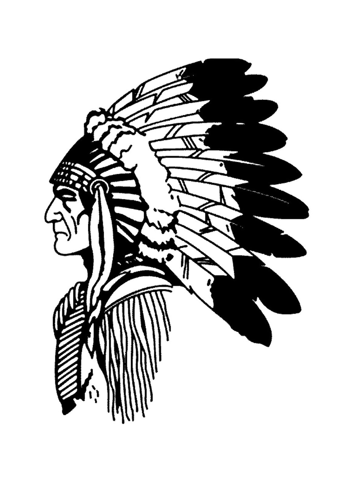Simple Native American Headdress Drawing