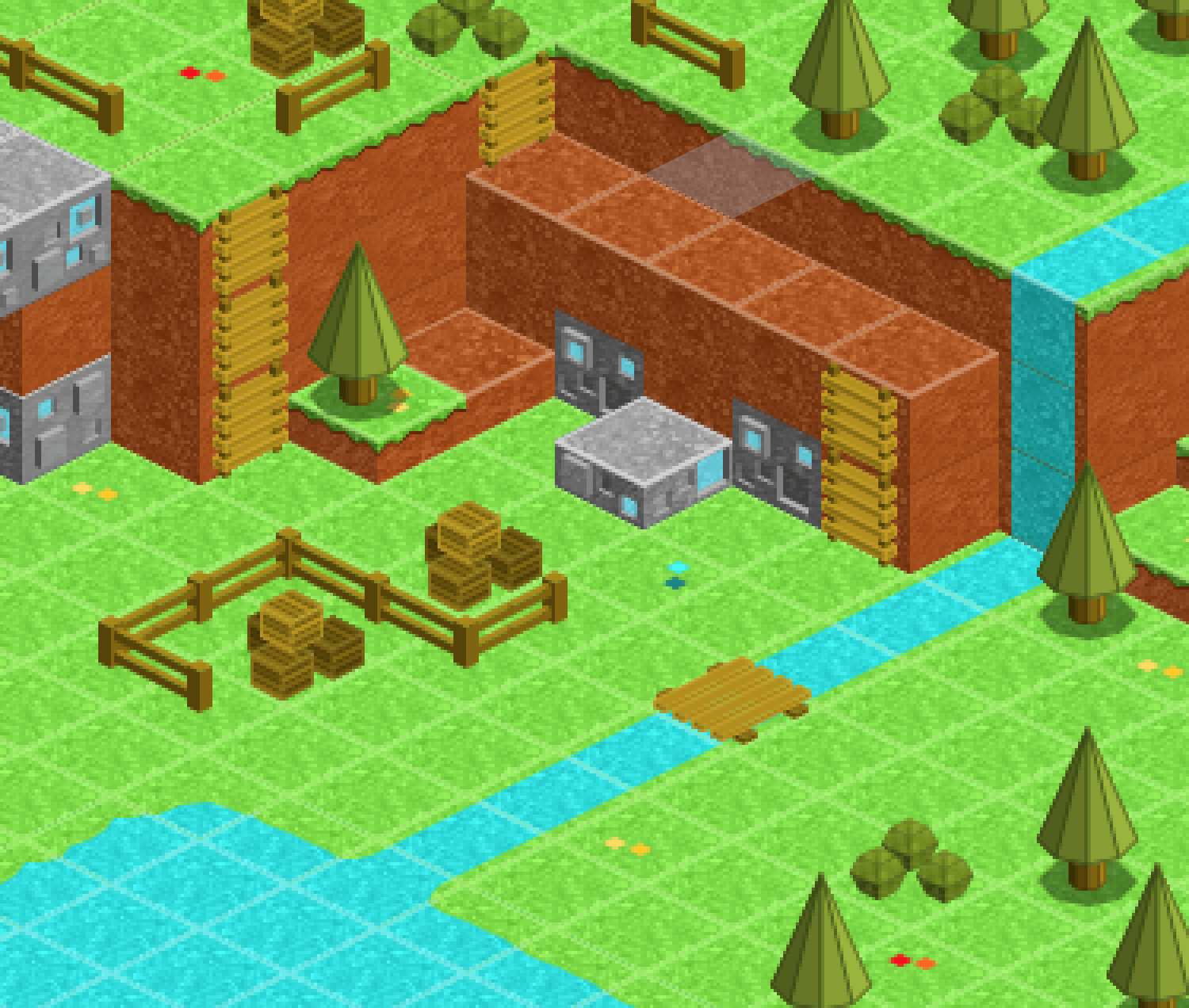 3D isometric tileset, selfmade with Inkscape SVG