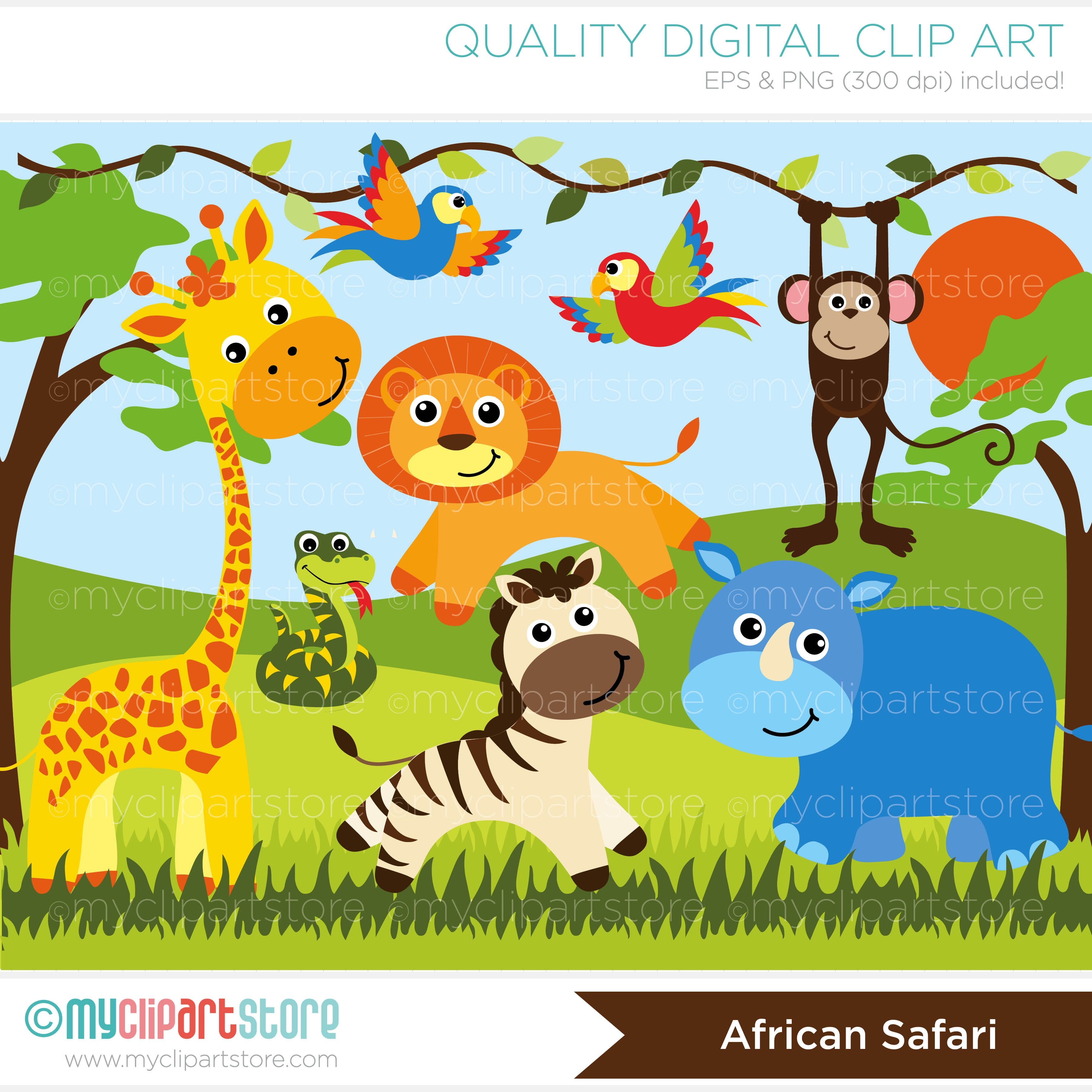 African Safari Animals Vector Clipart Baby Girl Quilts