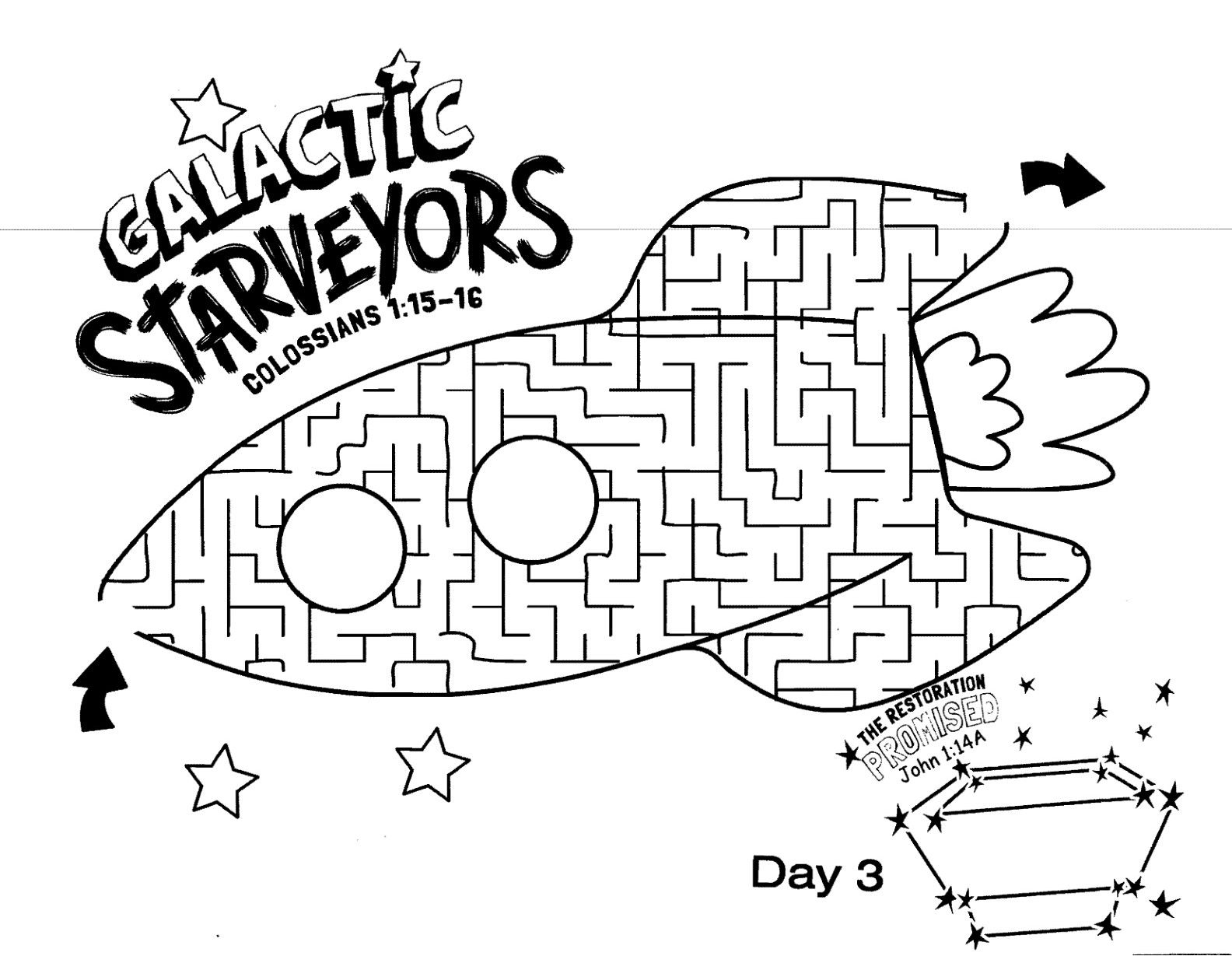 Galactic Starveyors Coloring Sheet Vbs Day 3