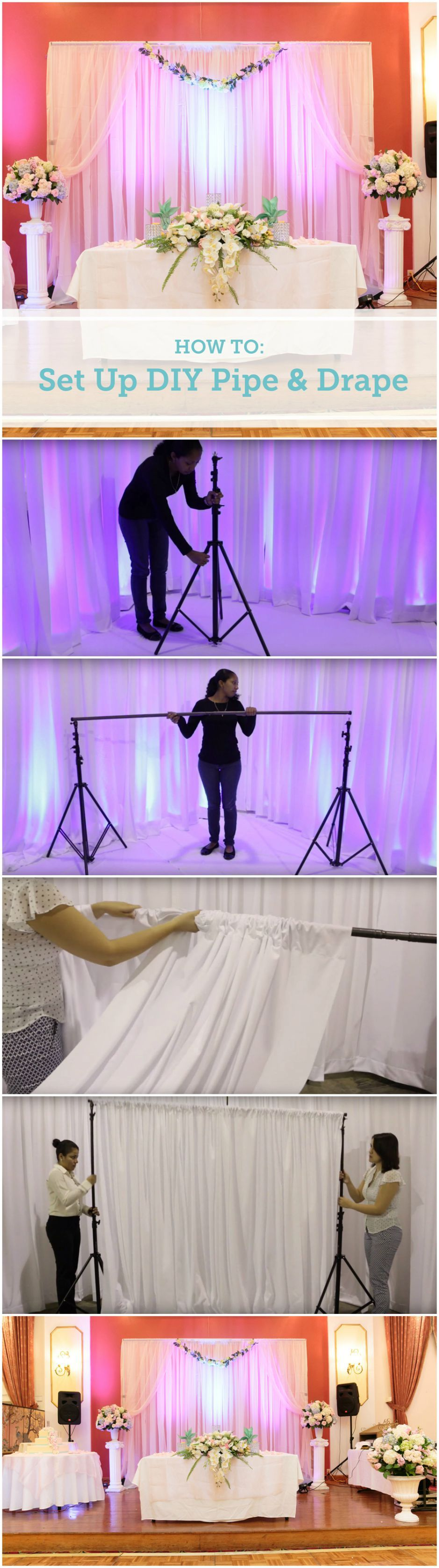 How To Set Up a DIY Wedding Backdrop Diy pipe, Pipes and