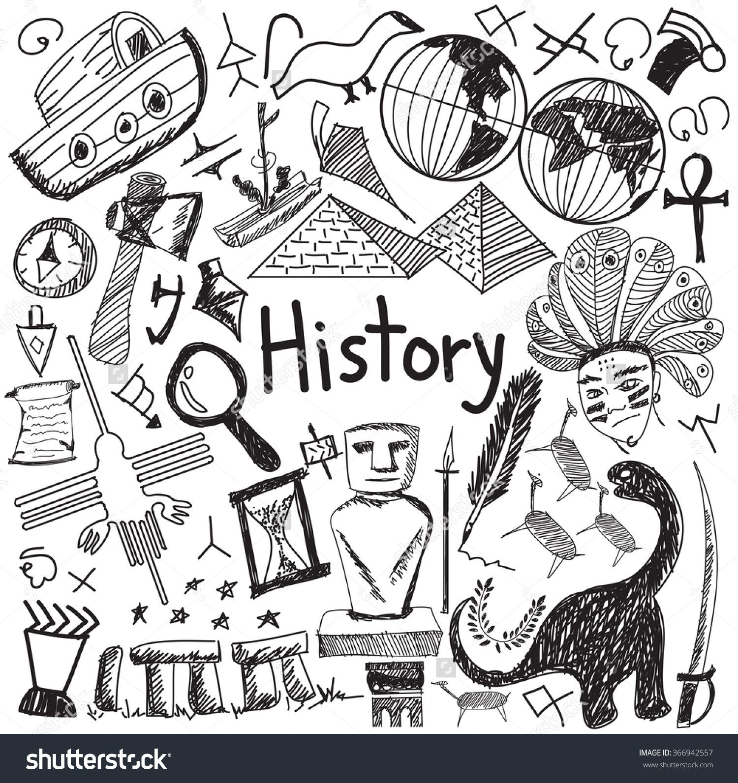 History education subject handwriting doodle icon of