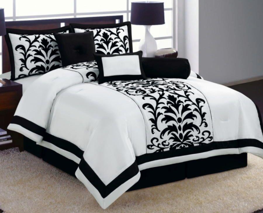 6 Pc White Black Luxury Flocking Comforter Set Full Size