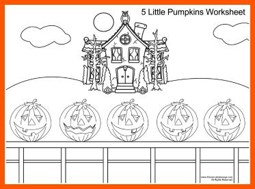 Five Little Pumpkins And Coloring Page For Kids