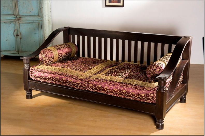Indian Curved Arm Slatted Sofa Design Is Made From Shishum Wood With Rounded Rests