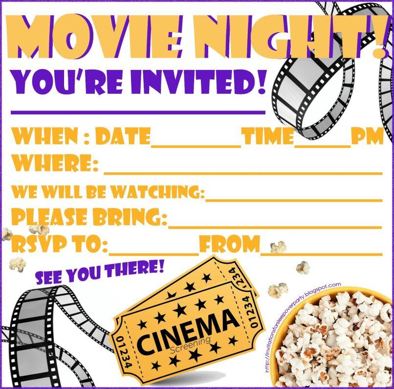 Cinema Birthday Invitations Free   Invitationjpg.com