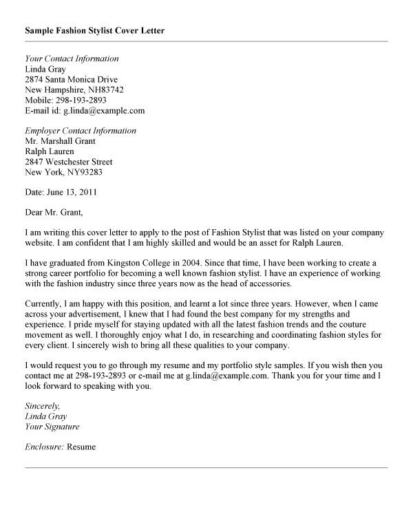 Cover Letter Template Fashion Industry June 2021