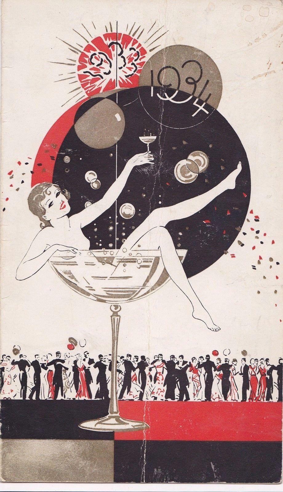 19331934 art deco New Year card Happy New Year