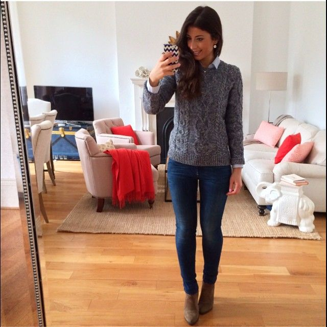 Mimi Ikonn Grey Sweater Skinny Jeans Ankle Boots