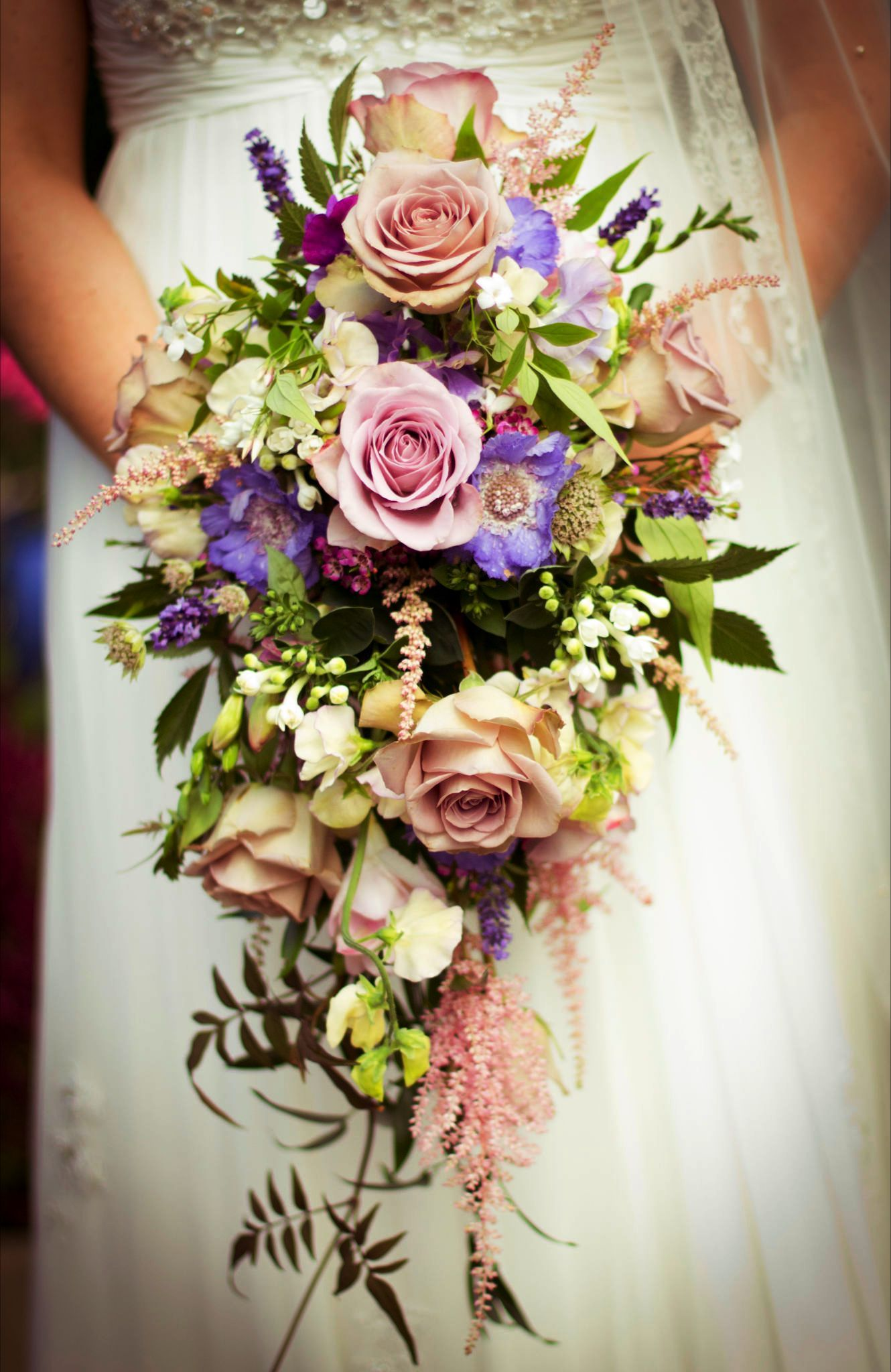 Shower bouquet with Memory Lane Roses and mixed summer