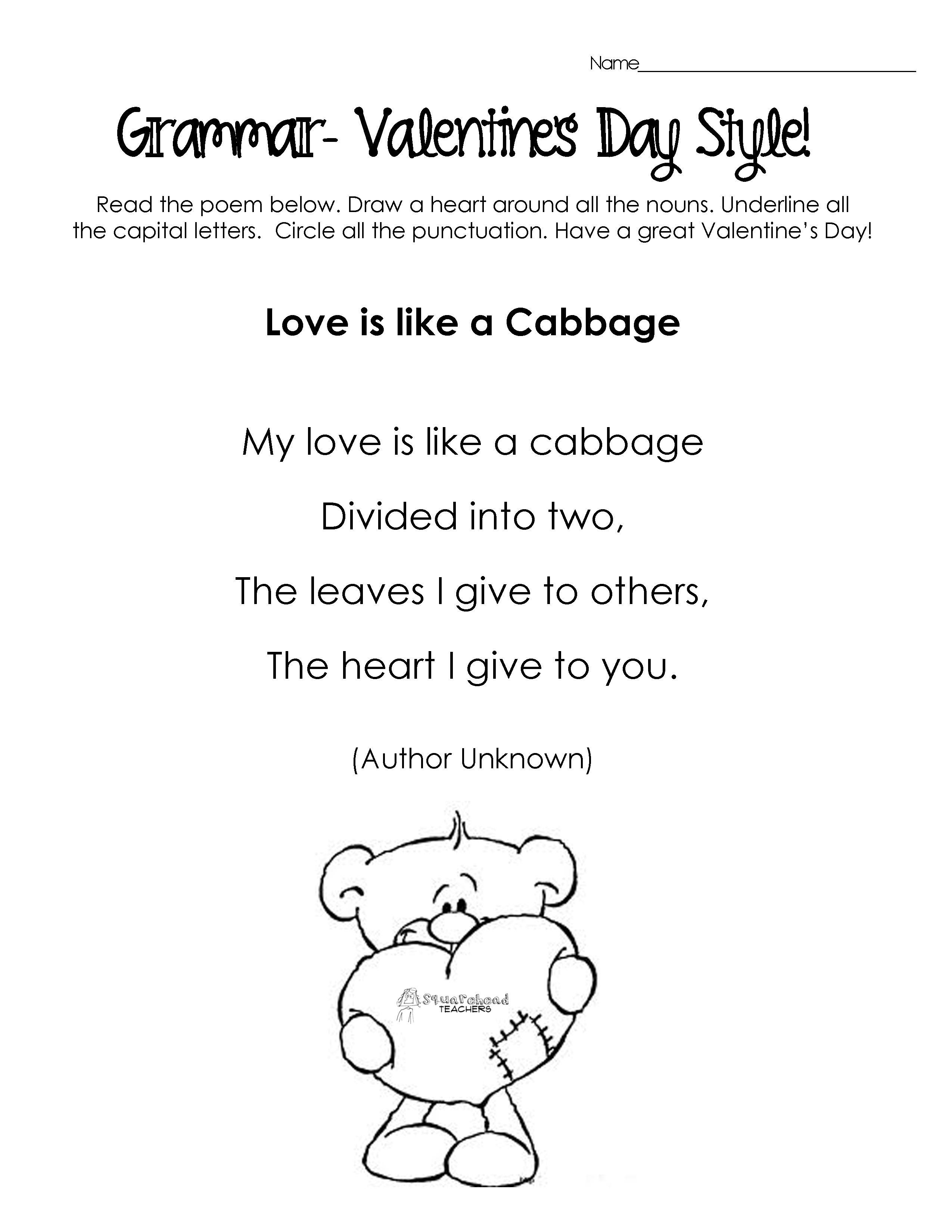 Poems Valentine S Day Kids