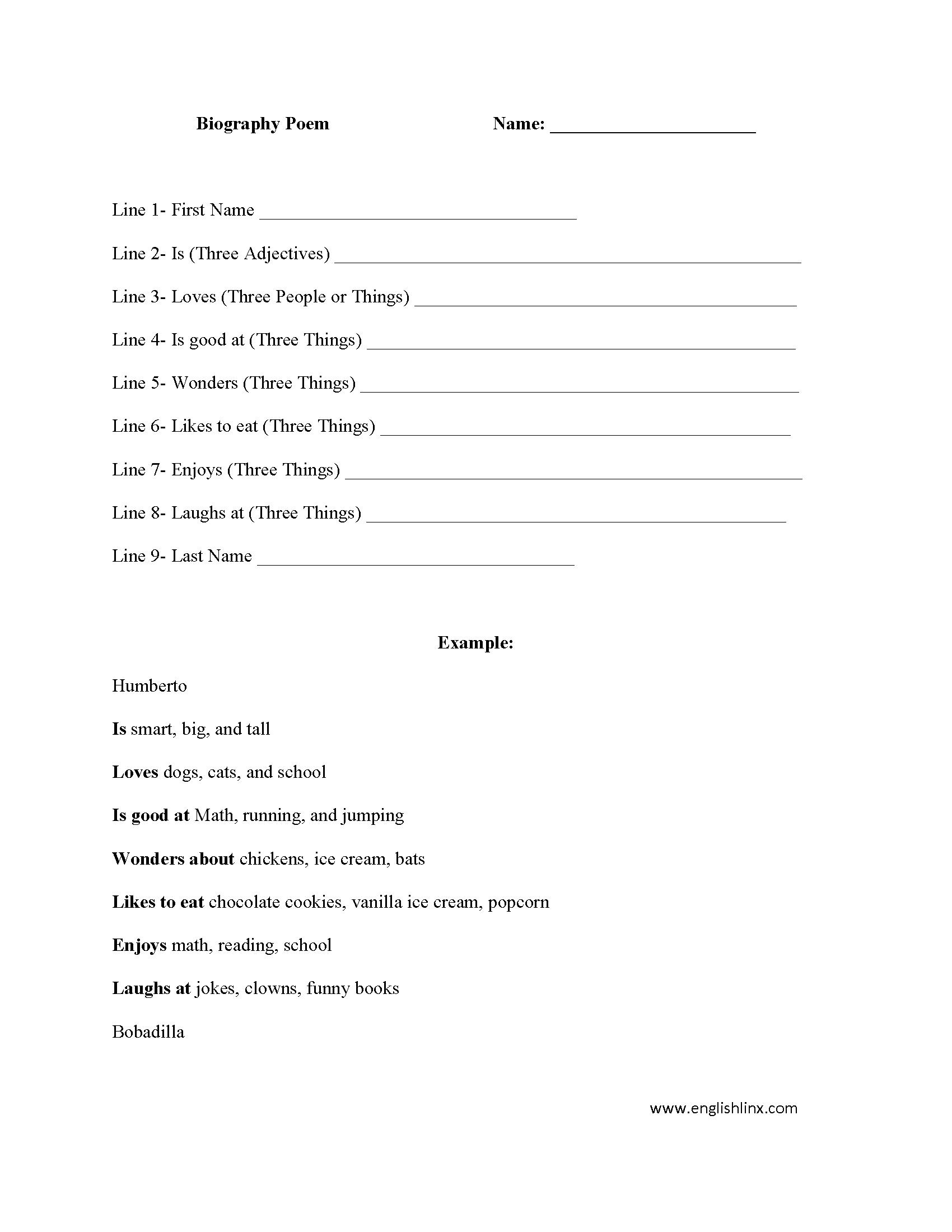 Biography Poem Poetry Worksheet