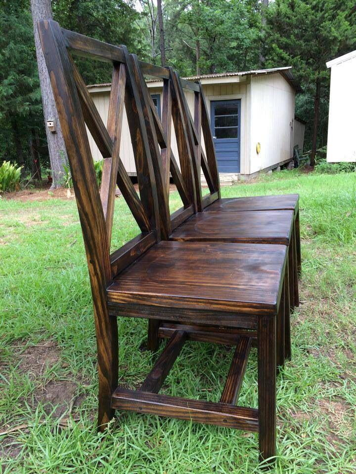 Handmade dining chairs with X back. Handmade Furniture