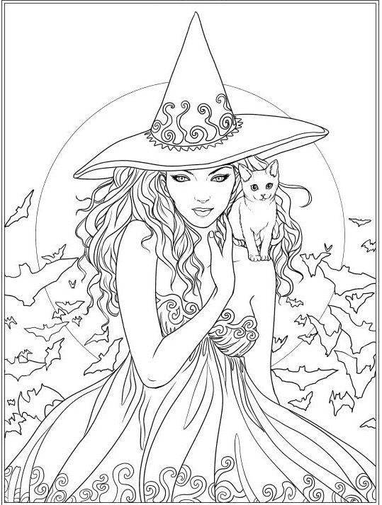 witch and cat coloring page  witch halloween skull