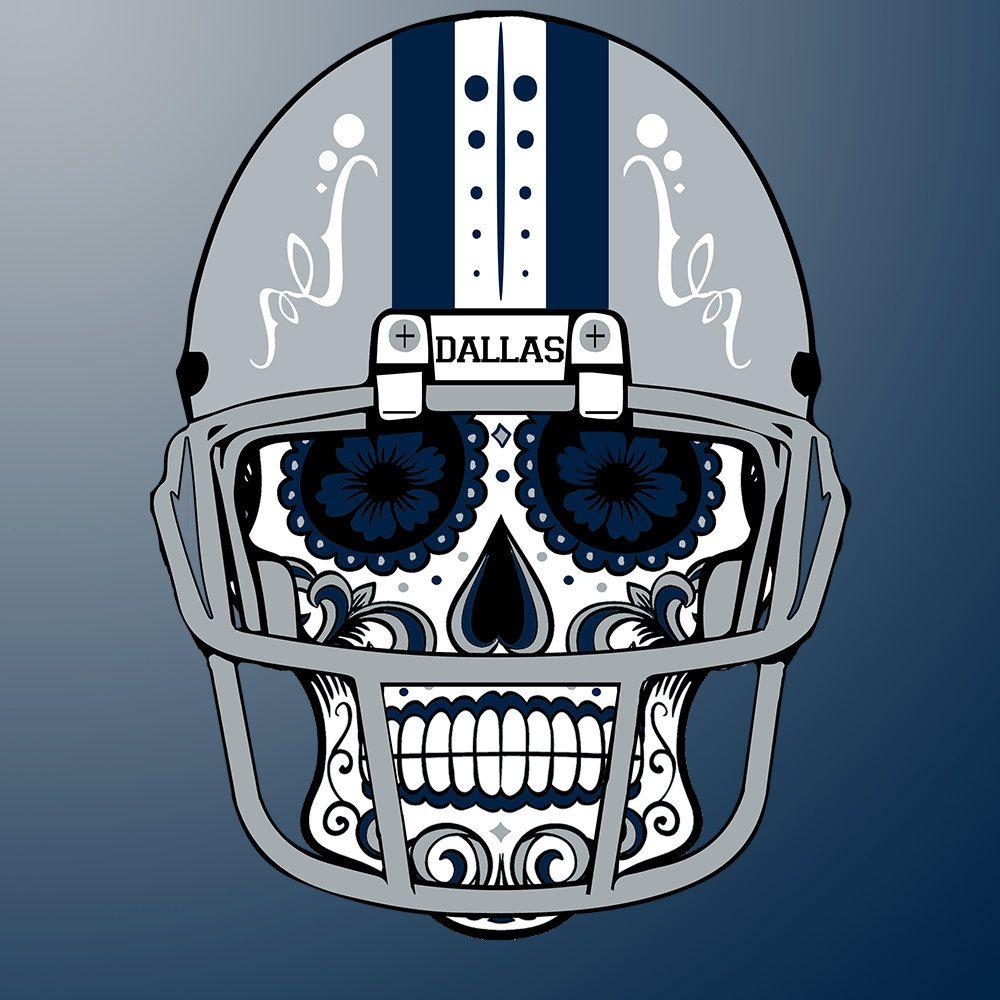 Dallas Cowboys Custom NFL Sugar Skull (calavera) Tees and