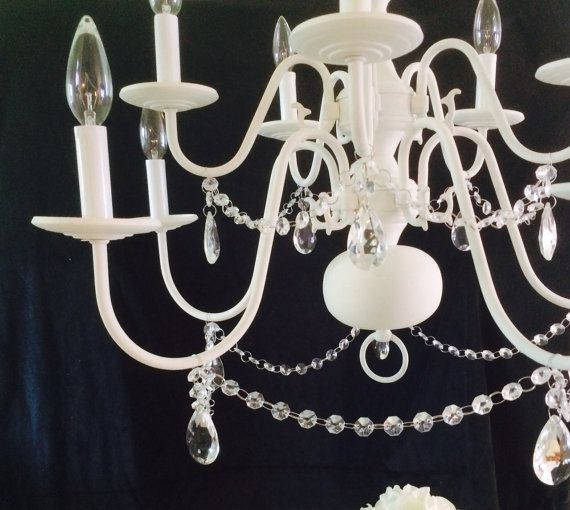 Shabby Chic Chandelier White Chalk Paint Crystal Pendants Rejuvenated Refurbished Upcycled