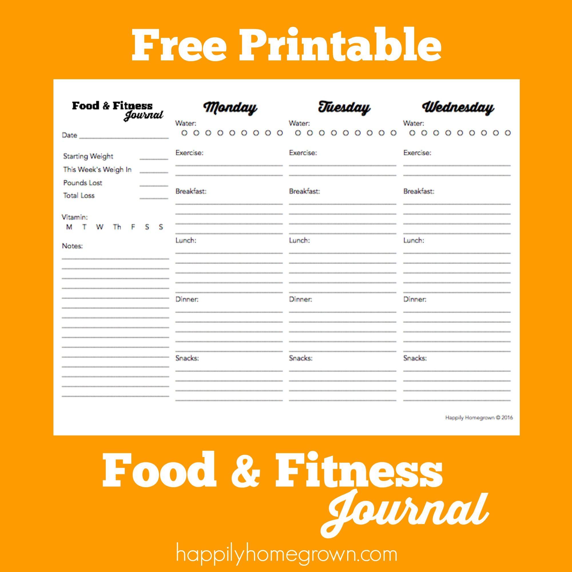 Free Printable Food Amp Fitness Journal