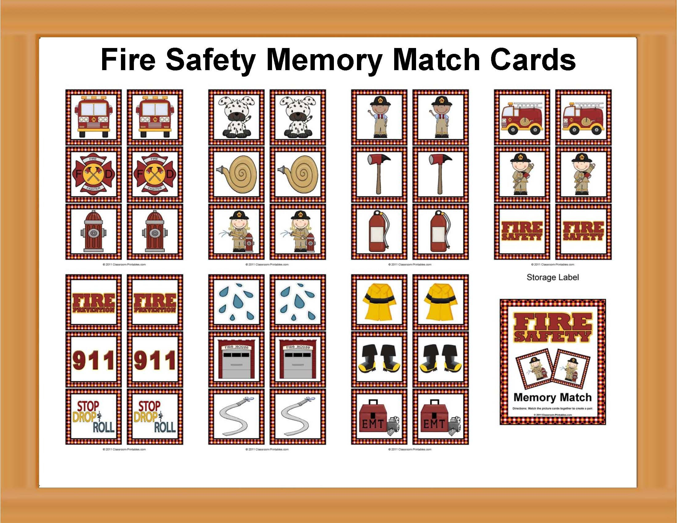 Fire Safety Memory Match Cards