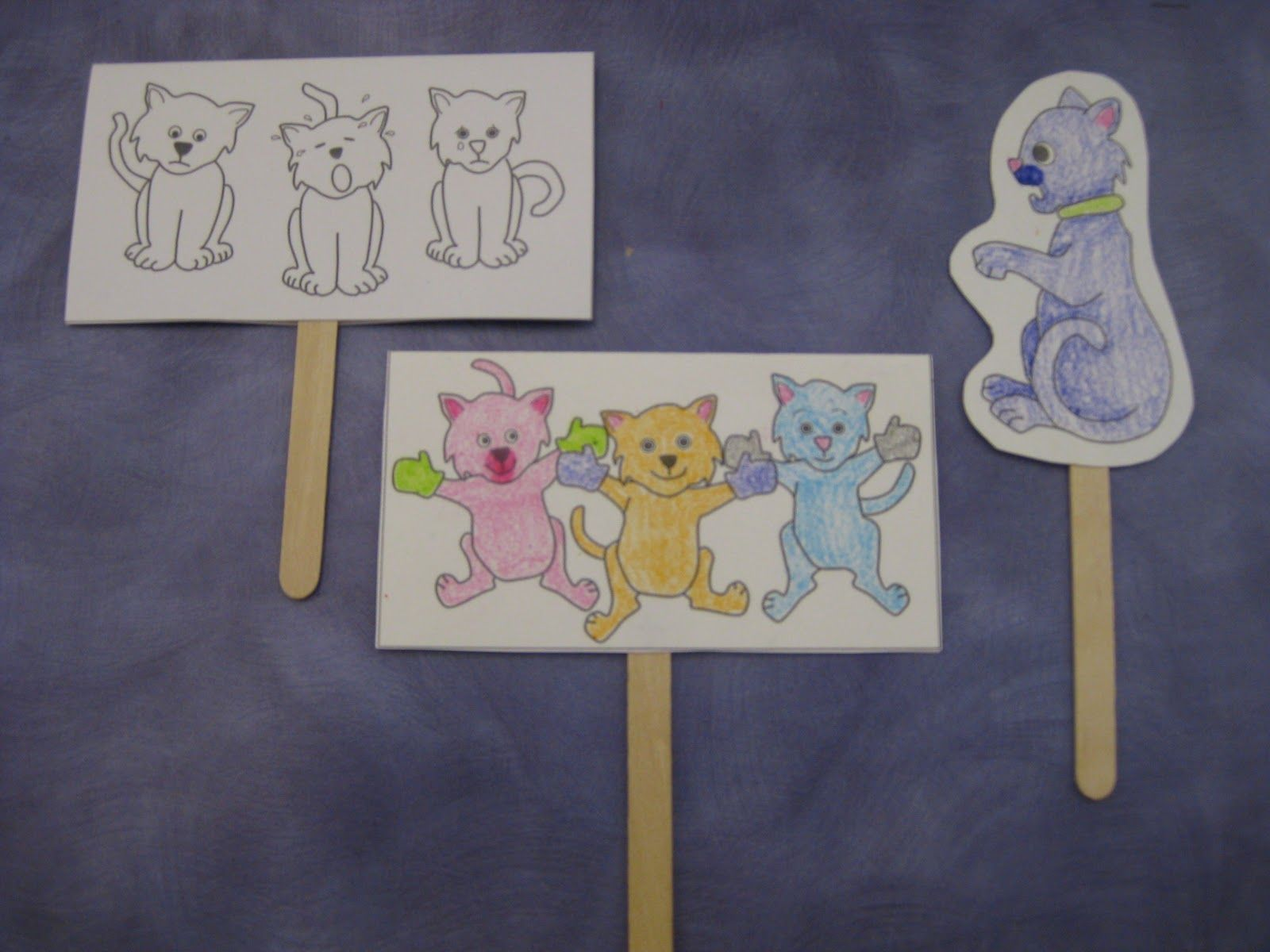 Three Little Kittens Stick Puppets