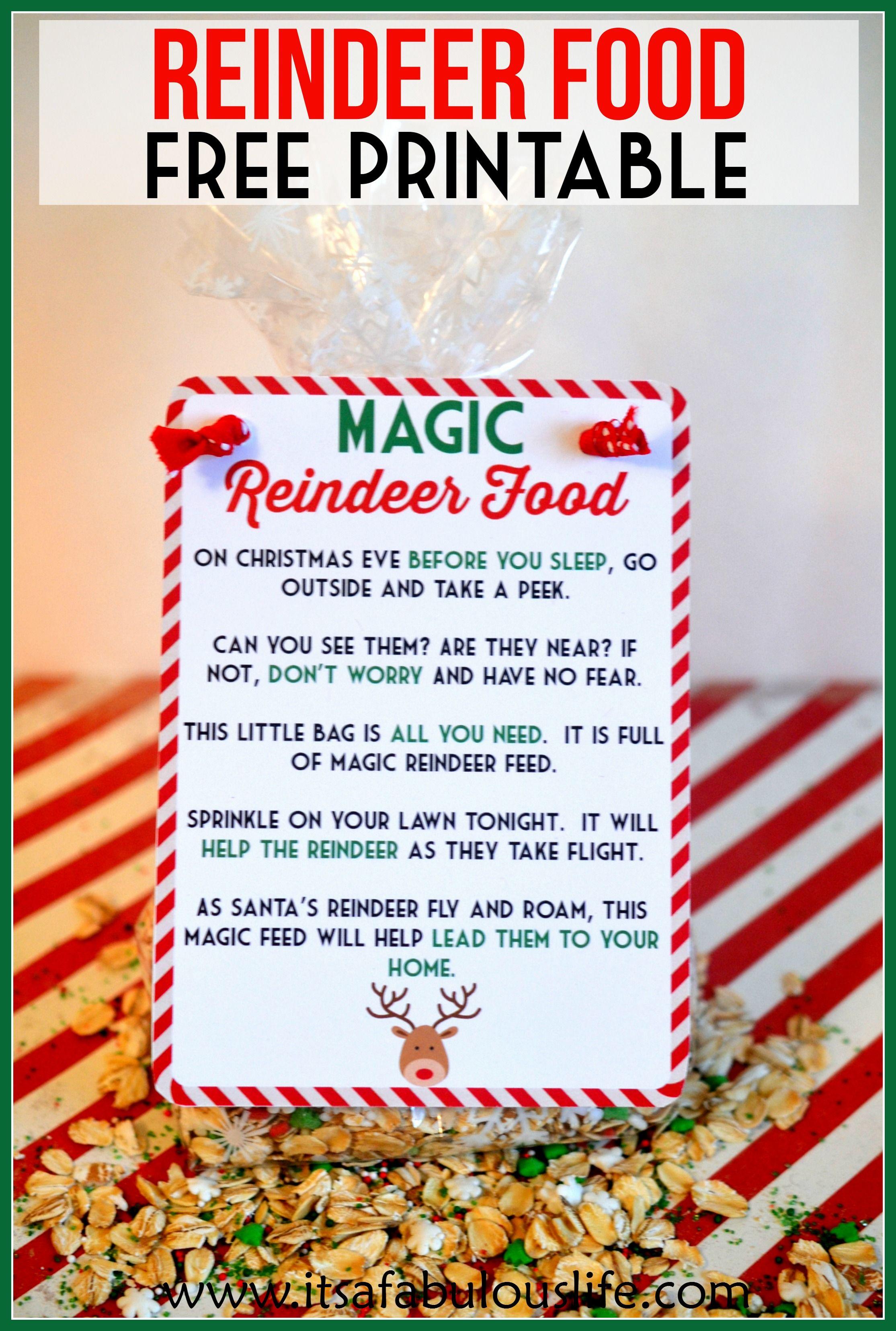 Magic Reindeer Food Poem Amp Free Printable Also Includes The Reindeer Food Recipe