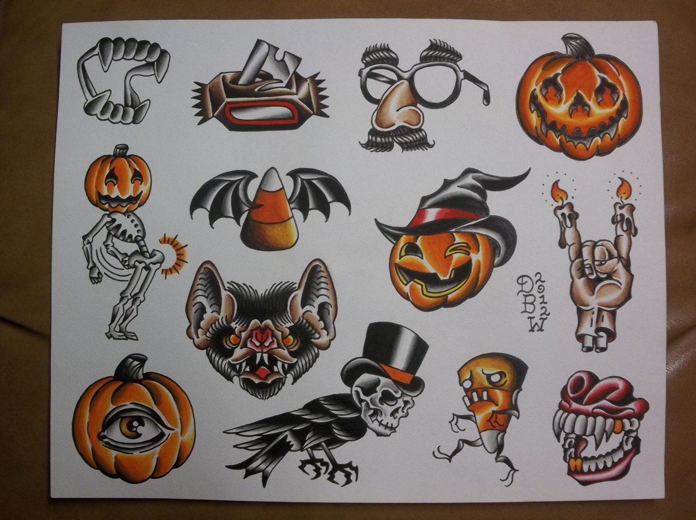Halloween Traditional Tattoo Flash Sheet. 10.00, via