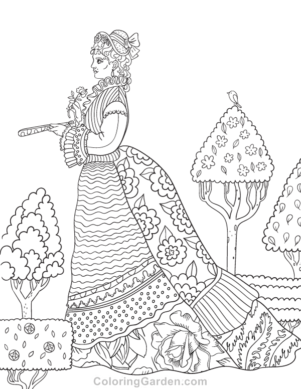 Free printable Victorian woman adult coloring page