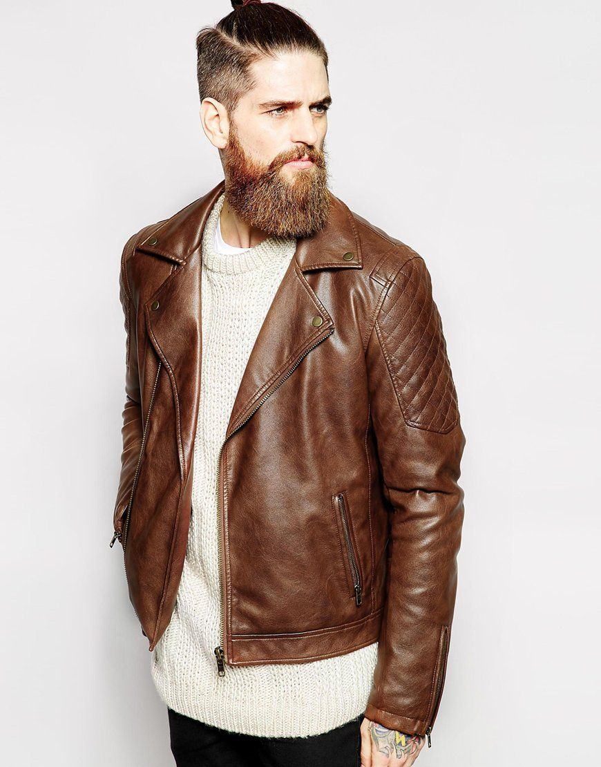 Image 1 of ASOS Faux Leather Biker Jacket In Brown