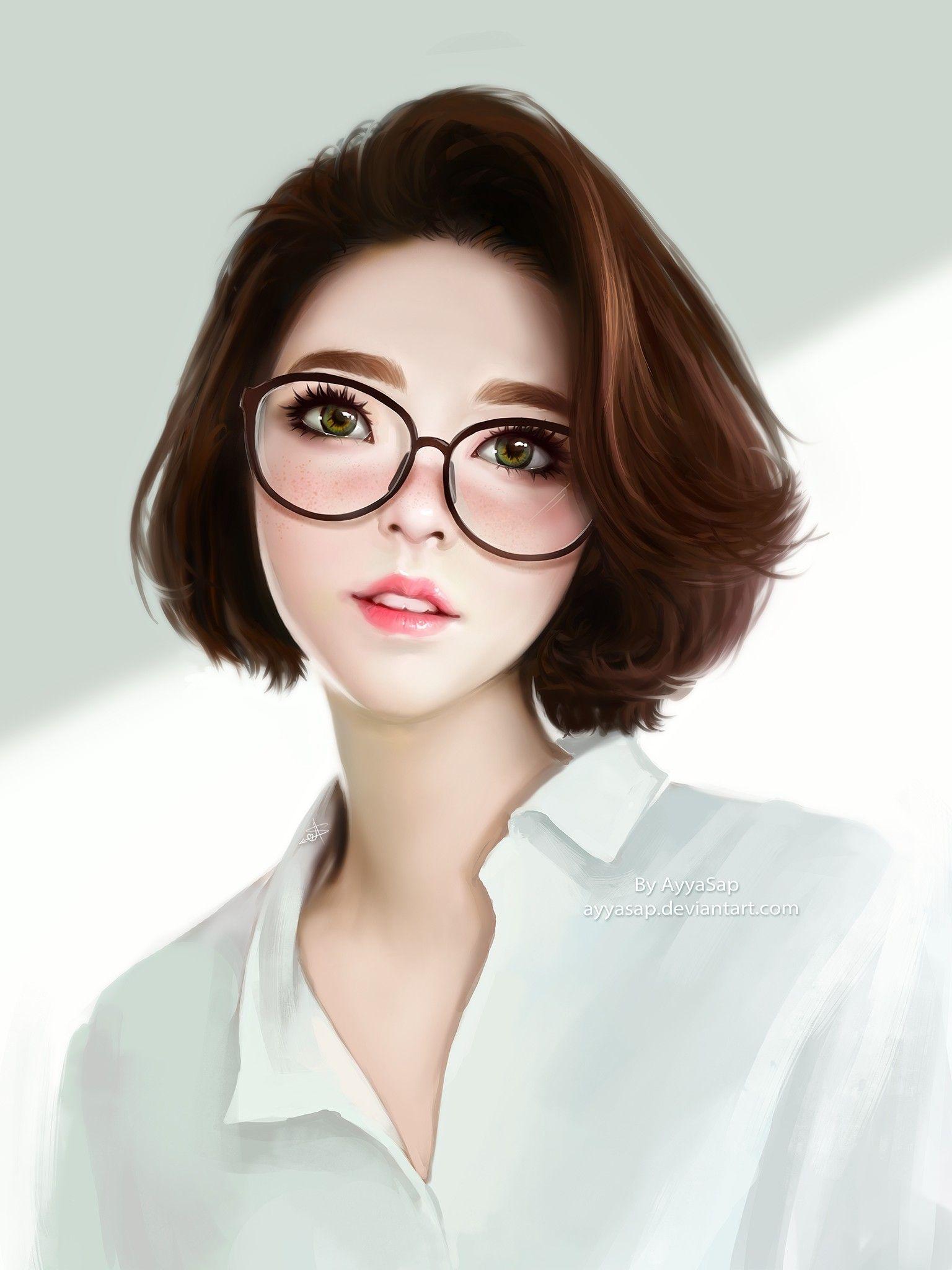 Realistic Anime Girls Glasses Short Wallpaper 4801