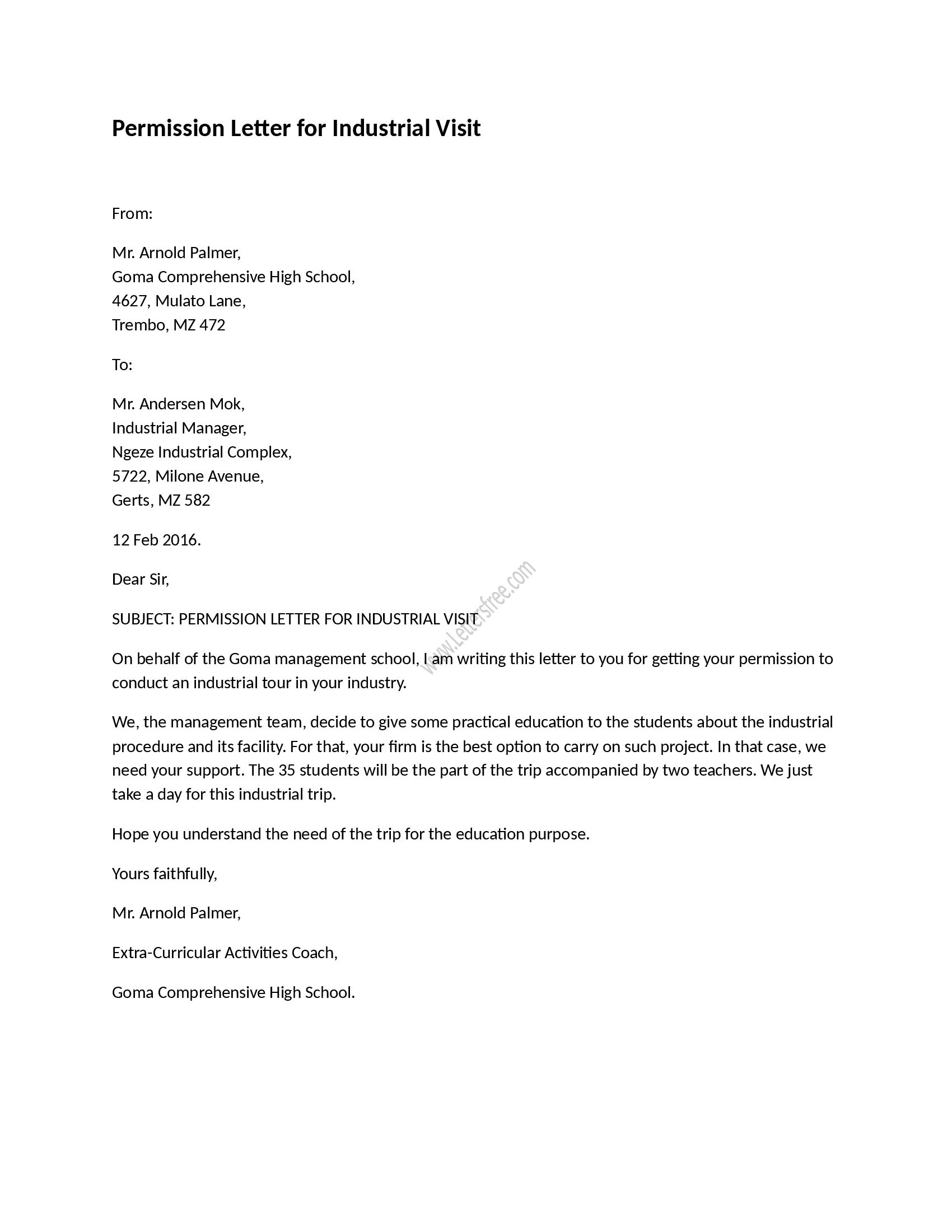 Example of permission letter for industrial visit, as its