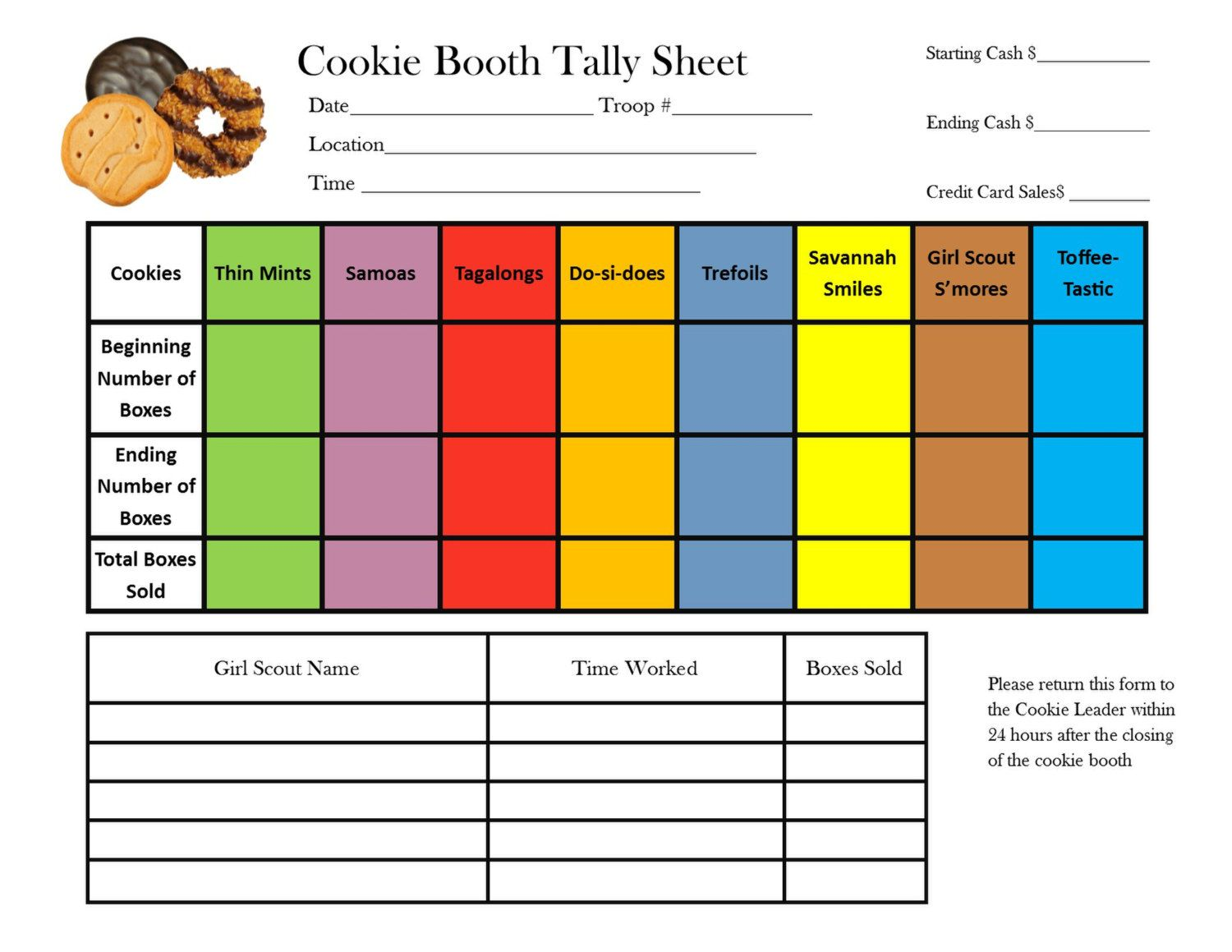 Girl Scout Cookie Booth Tally Sheet By Troopdesigns On
